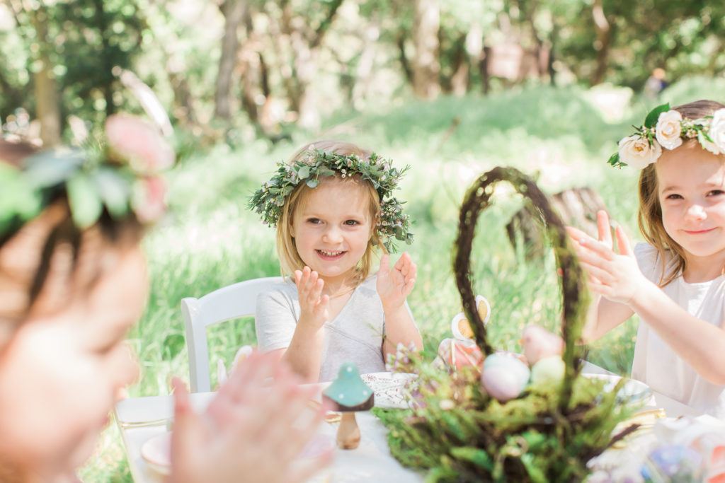 Smash Cake SoCal | Whimsical Wooded Easter Egg Hunt, Stylized Shoot, woods, bunny, table setting, magical, floral crowns, childrens party, table setting, gold flatware, moss, bunny ears, easter basket, easter tablescape, easter centerpiece, spring, terrarium flower arrangement, flower crown, mushrooms