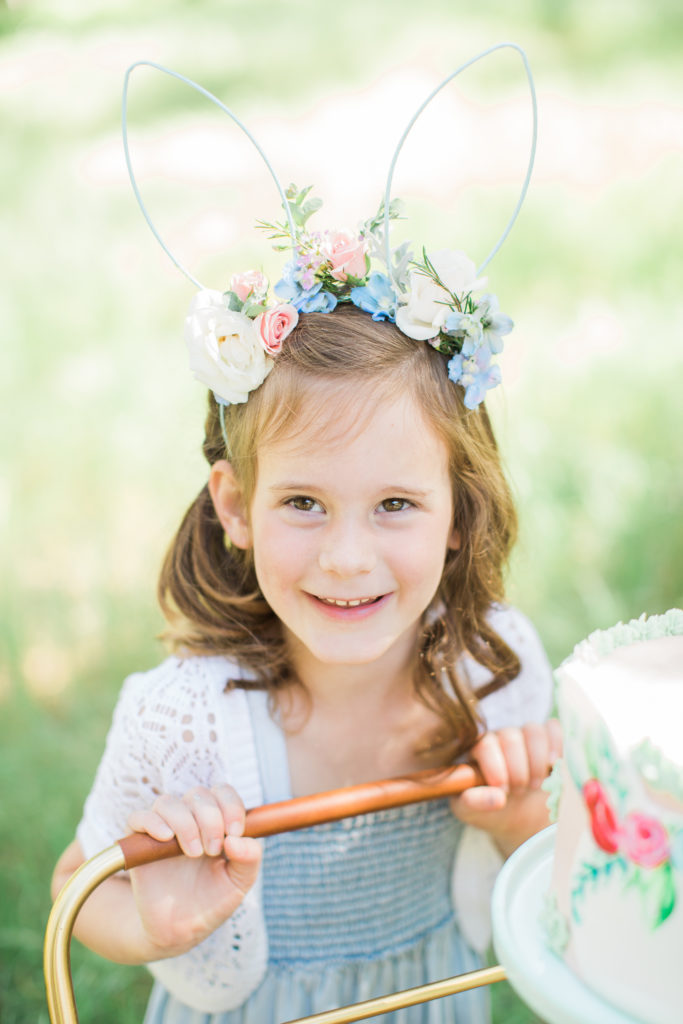 Smash Cake SoCal | Whimsical Wooded Easter Egg Hunt, Stylized Shoot, woods, bunny, table setting, magical, floral crowns, childrens party, bunny ears flower crown