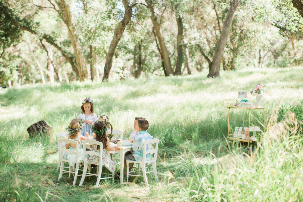 Smash Cake SoCal | Whimsical Wooded Easter Egg Hunt, Stylized Shoot, woods, bunny, table setting, magical, floral crowns, childrens party,