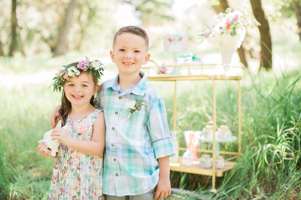 Smash Cake SoCal | Whimsical Wooded Easter Egg Hunt, Stylized Shoot, woods, bunny, table setting, magical, floral crowns, childrens party, bunny cake, gold bar cart