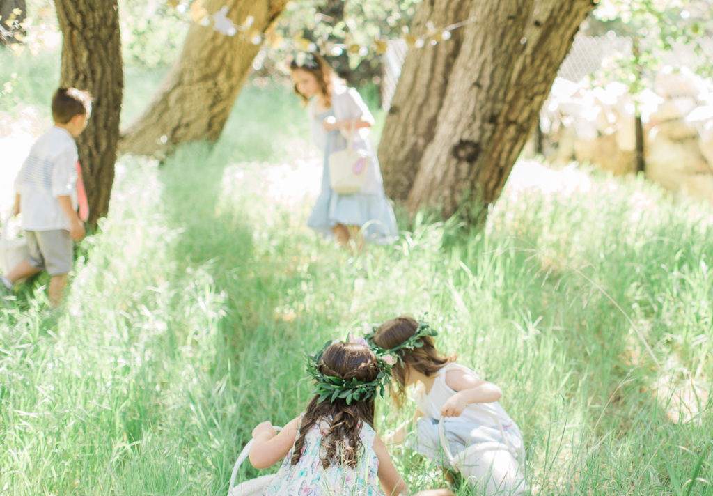 Smash Cake SoCal | Whimsical Wooded Easter Egg Hunt, Stylized Shoot, woods, bunny, table setting, magical, floral crowns, childrens party