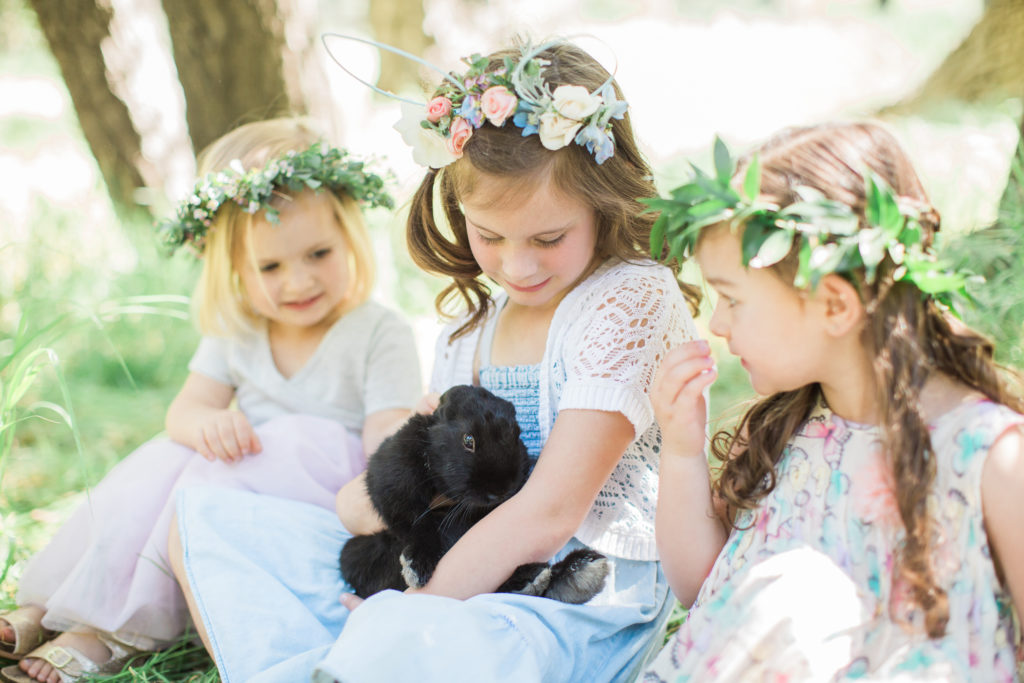 Smash Cake SoCal | Whimsical Wooded Easter Egg Hunt, Stylized Shoot, woods, bunny, magical, floral crowns, childrens party, bunny rabbit, black rabbit, flower crown