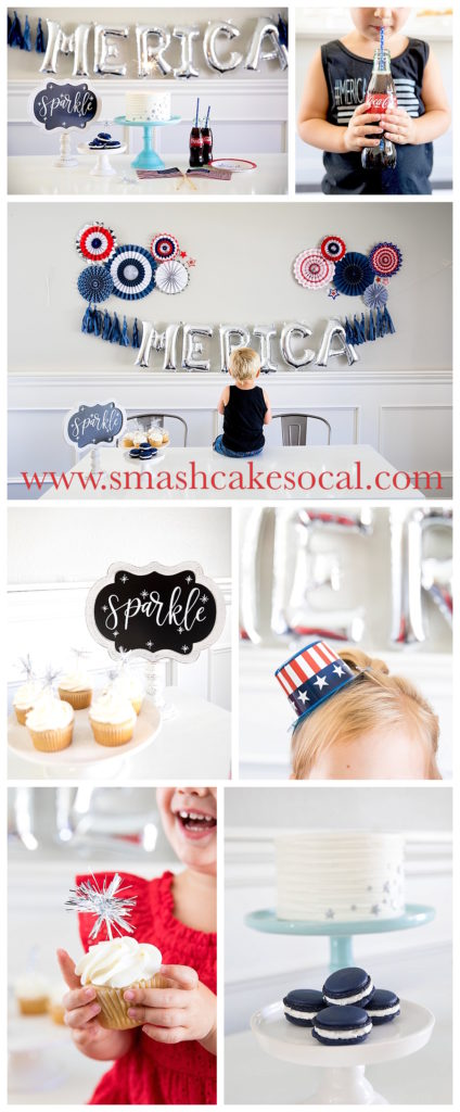 Smash Cake SoCal | Modern #Merica Dessert Bar, balloon letters, paper fan, merica, America, 4th of July, Independence Day, July 4th, Patriot, Freedom, Celebrate, Sparkler, Coke, Cake, Macarons, Cupcake, Sparkler Cupcake Topper, American Flag, Patriotic, Red white & blue, Liberty