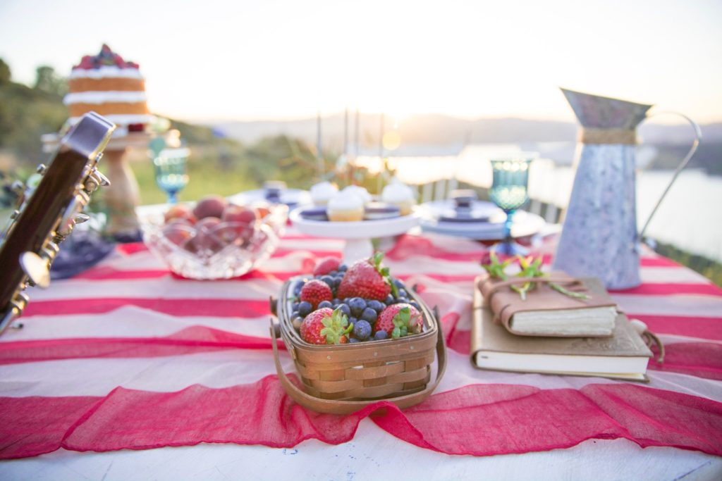 Smash Cake SoCal | Americana Sunset Lakeview Styled Engagement Shoot, America, USA, Patriotic, Liberty, Red White Blue, naked cake, berries, macarons, sparklers, flag, vintage, succulents, Carly Jean LA, engagement, love, anniversary