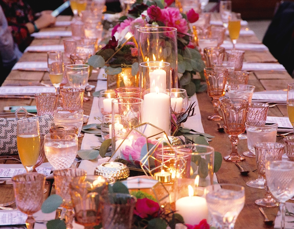 Smash Cake SoCal: Sabor Underground Supper with Chef Kyndra Ooh LaLa, menu, marble, rose gold flatware, vintage goblet, terrarium flower arrangement, tablescape, place setting, Valentine's Day, romantic, love, wedding tablescape